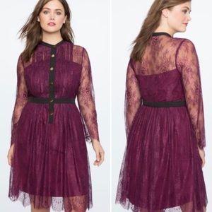 NWT Eloquii purple lace pleat front A-line dress
